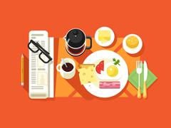 Breakfast design flat - stock illustration