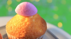 Stock Video Footage of green background - Cupcake - Sparkling - 04