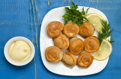 Fried dumplings on the plate with mayonnaise, herbs and lemon - stock photo