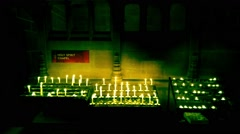 Candles at Liverpool Cathedral Stock Footage