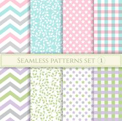 Set of seamless patterns in pastel colors for fabric, wrapping paper or scrap Stock Illustration