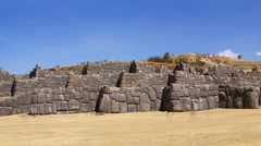 Panorama - Massive stones in Inca fortress walls Stock Footage