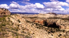 Panorama tilted layers of sandstone cliffs Stock Footage