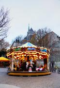 Carousel near the St. Pierre Cathedral in Geneva, Switzerland Stock Photos