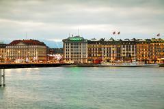 Geneva cityscape overview at night Kuvituskuvat
