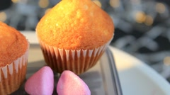Grey background - Cupcake - Focus - 03 Stock Footage