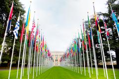 United Nations palace in Geneva Stock Photos