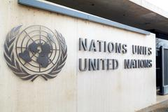 United Nations palace sign in Geneva Stock Photos