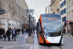 Tram at the Rue du Phone in Geneva, Switzerland Stock Photos