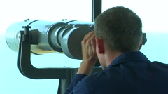 Man and telescope - stock footage