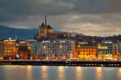 Geneva cityscape overview with St Pierre Cathedral Stock Photos