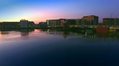 Downtown Green Bay Wisconsin at Daybreak, Main Street Bridge Stock Footage