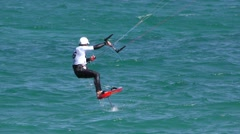 Kite Surfing in Gulf of California Off Baja Peninsula Stock Footage