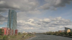 Timelapse - Moving clouds over the river Main Stock Footage