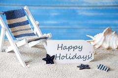 Summer Label With Deck Chair, Happy Holidays - stock photo