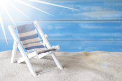 Sunny Summer Greeting Card With Deck Chair Stock Photos