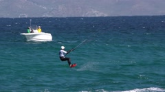 Slow Motion of Kite Surfing in Baja Peninsula and Gulf of California Stock Footage