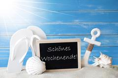 Sunny Summer Card With Wochenende Means Happy Weekend Stock Photos
