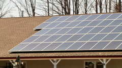 Solar panels on business roof Stock Footage