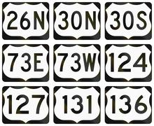 Collection of general United States Route shields - stock illustration