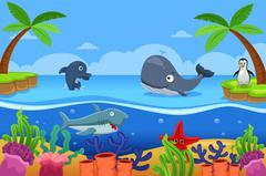 Marine Life in the Ocean - stock illustration