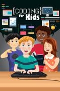 Coding for Kids Poster - stock illustration