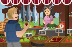 Man Shopping in a farmers market - stock illustration