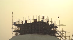 Nepal 1 Year After the Earthquake. Reconstructing Bodhnath Stupa 4K Stock Footage