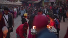 Nepal 1 Year After the Earthquake. Candles at Bodhnath 4K Stock Footage