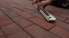 Brick Path Installation Construction Project Low Angle Slider Shot Close Up Stock Footage