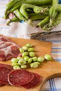 Cold meats and broad bean - stock photo