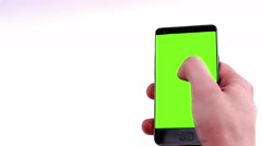 man hands using a smart phone for write text messaging with chroma key - stock footage
