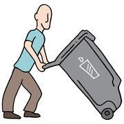 Man moving trash can Stock Illustration