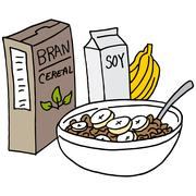 Bran cereal with bananas and soy milk - stock illustration