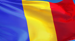 Romania flag in slow motion seamlessly looped with alpha Stock Footage