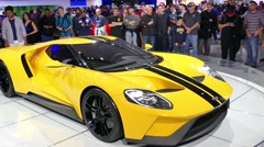 Ford GT, Ford supercar at New York International Auto Show Stock Footage