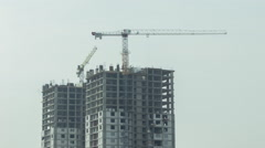 Construction With Cranes Timelapse Stock Footage