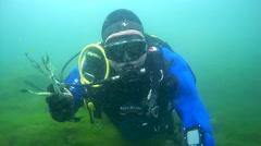 Underwater painter Yuriy Alekseev with a palette knife under water - stock footage