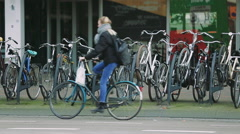 Bicycle parking in Europe. Stock Footage