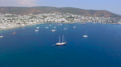 Panoramic Bodrum Cove Stock Footage