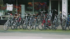 Bicycle parking in Europe Stock Footage