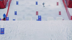 Giant slalom and ski jumping on skis Stock Footage