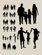 Happy Family Silhouettes - stock illustration