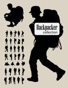 Backpacker Silhouettes Stock Illustration