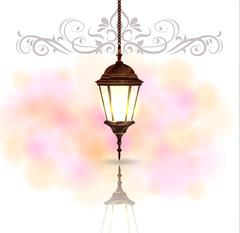 Intricate Arabic lamp with light Stock Illustration