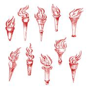 Handheld and wall red flaming torches sketch icons - stock illustration