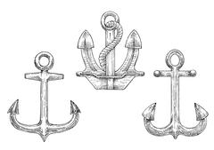 Navy ship anchors with rope sketch icons Stock Illustration