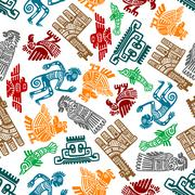 Mayan and aztec tribal totems seamless pattern - stock illustration