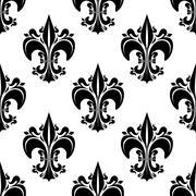 Black florid fleur-de-lis seamless pattern - stock illustration