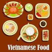 Healthy dishes flat icons of vietnamese cuisine Stock Illustration